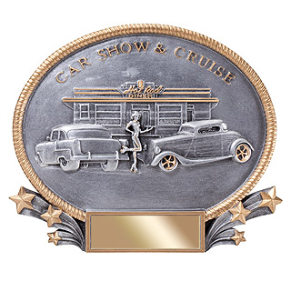 "7-1/4"" x 8-3/4"" Car Show Oval Resin"