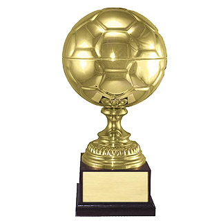 "16.5"" Plated Brass Soccer Ball Trophy"