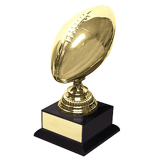 "14.5"" Plated Brass Football Trophy"