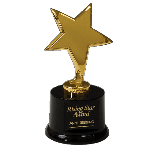 "6.5"" Polished Metal Star Award w/ Weighted Base"