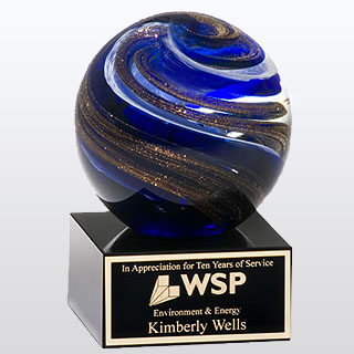 3.5 in X 5 in Art Glass Globe Award