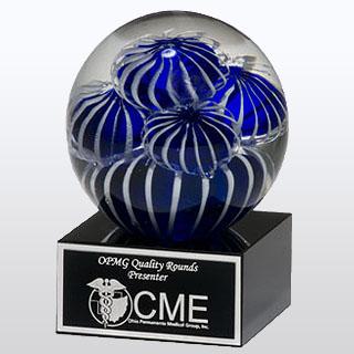 3.5 in X 5 in Art Glass Globe Award