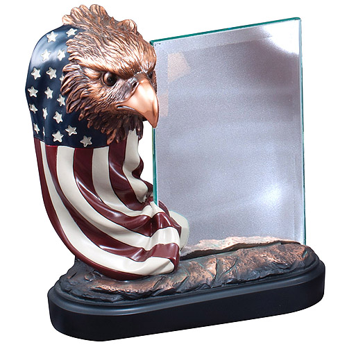 "7.5"" Eagle Resin w/ 4"" x 6"" Glass For Engraving"