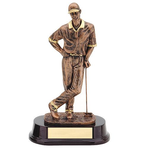 10 in Bronze Male Golf Resin