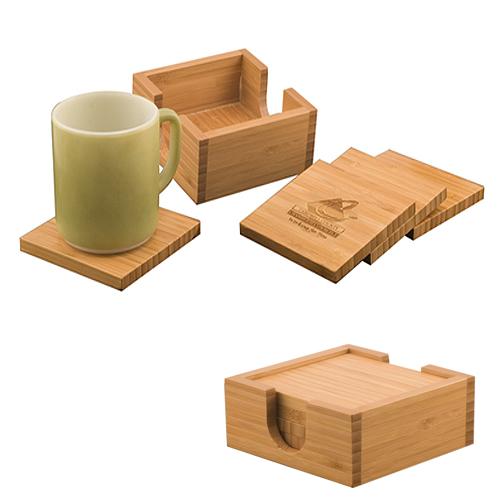 Laserable Bamboo Coaster Set