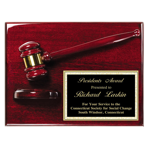 Rosewood Piano Finish Gavel Plaque