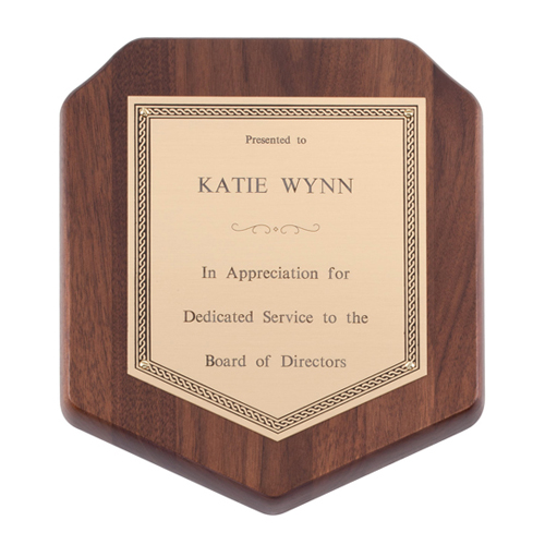 Genuine Walnut Shield Plaque
