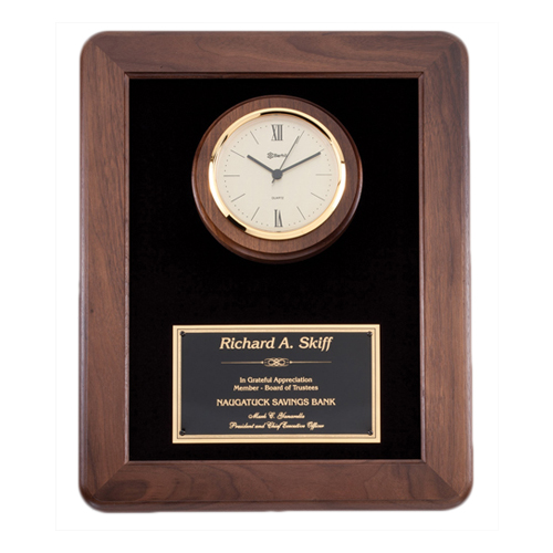 "12"" x 15"" Genuine Walnut Clock Plaque"
