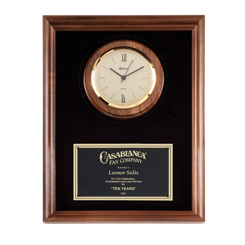 "10"" x 13"" Genuine Walnut Clock Plaque with Black Velour"