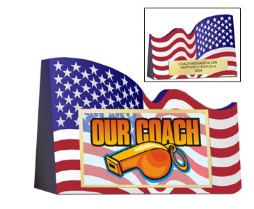 "American Flag Coaches Award 6""L x 4-1/2"" Tall"