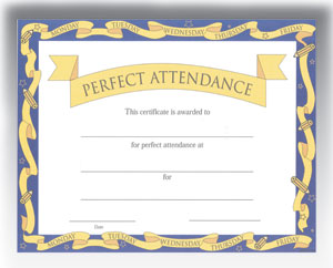"Perfect Attendance (8-1/2"" x 11"")"