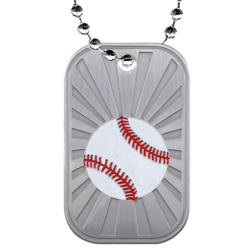 "2"" Baseball Dog Tag w/ Chain"