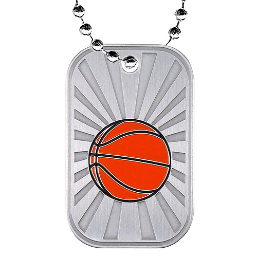 "2"" Basketball Dog Tag w/ Chain"