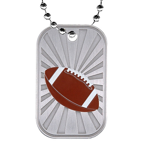 2 in Football Dog Tag w/ Chain