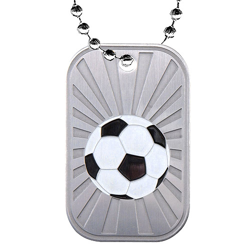 "2"" Soccer Dog Tag w/ Chain"