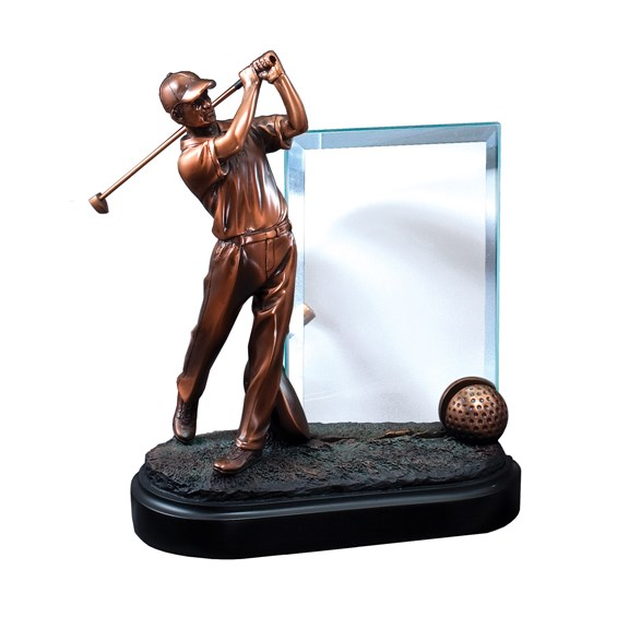 Glass and Resin Male Golf Trophy Award