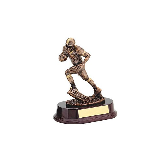 "7"" Bronze Football Runner Resin"