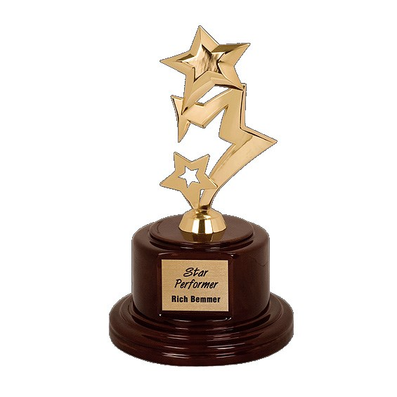 "9"" Gold Metal Star Award w/ Rosewood Piano Finish Base"