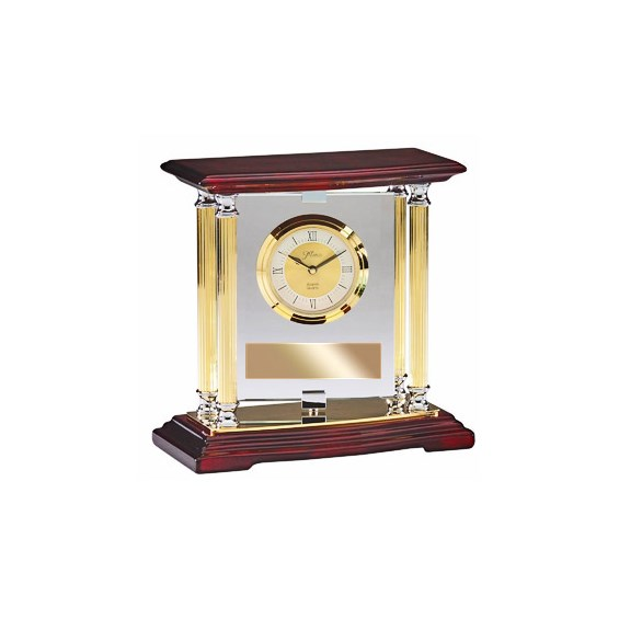 Rosewood & Brass Clock w/ Pivoting Glass