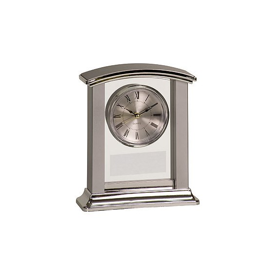 "7"" Silver Arch Promotional Desk Clock"