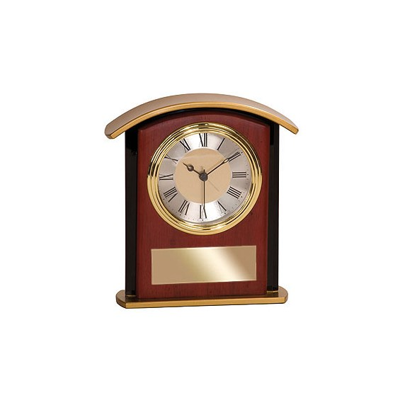 "6-1/2"" Mahogany Wood/Glass Desk Clock"