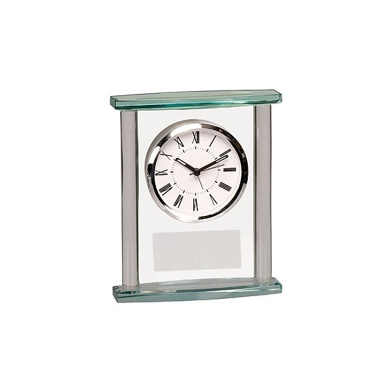 "6-3/4"" Square Glass Desk Clock"