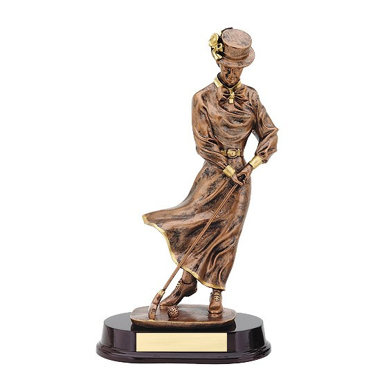 "13"" Bronze Female Golf Resin"