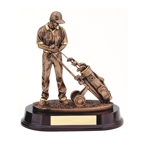 9 in Bronze Golfer & Trolley Resin