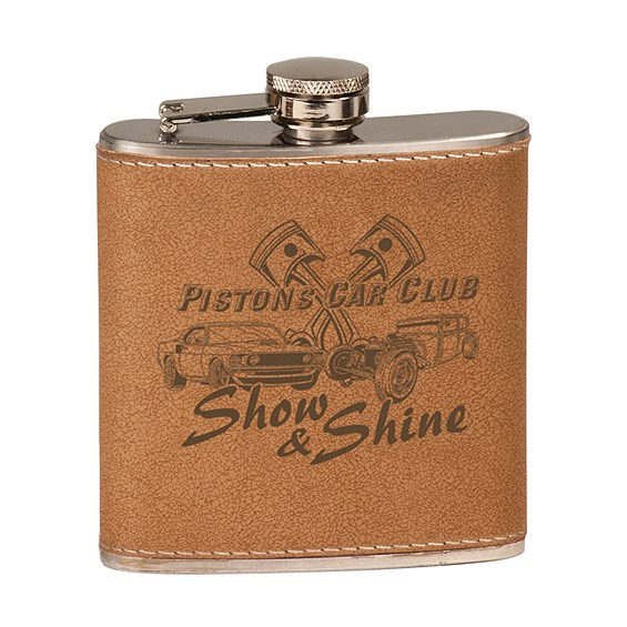 Laserable 6 oz. Leather Flask