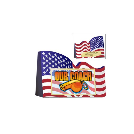 American Flag Coaches Award 6 inL x 4-1/2 in Tall