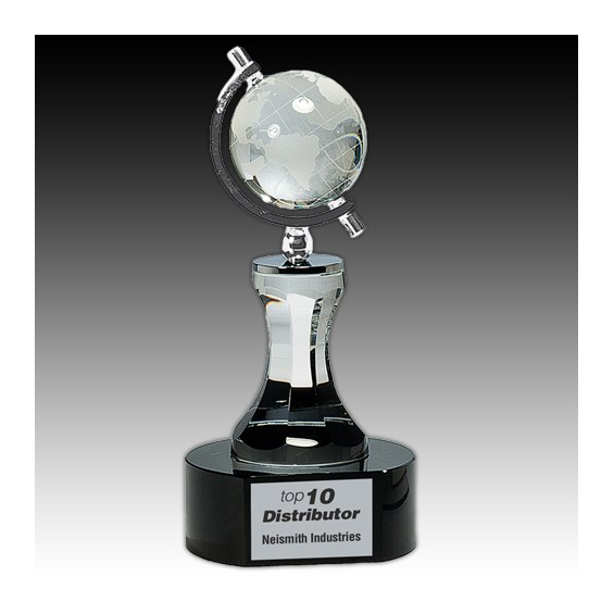 "8.5"" Crystal Spinning Globe Award"