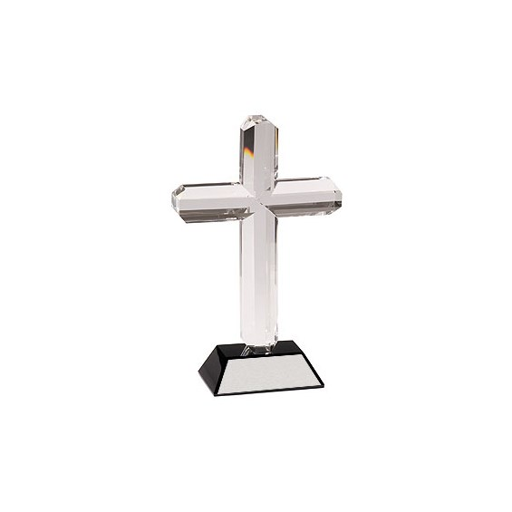 "9"" Crystal Cross w/ Black Base"