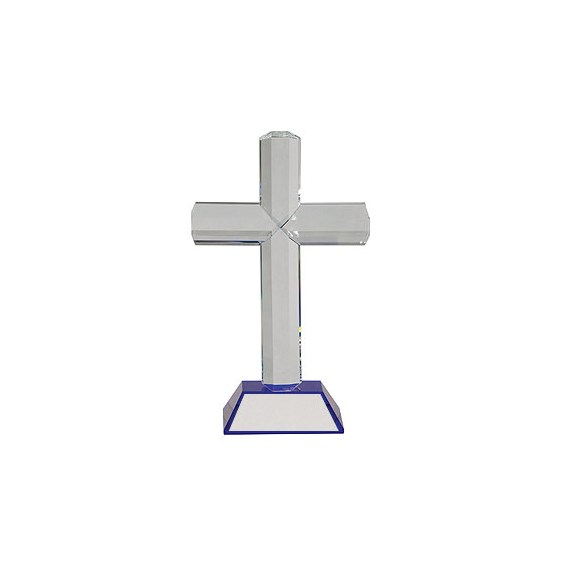 9 in Crystal Cross w/ Blue Base
