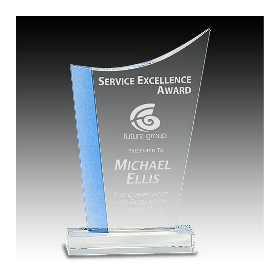9-1/2 in Crystal Blue Edge Wave Award