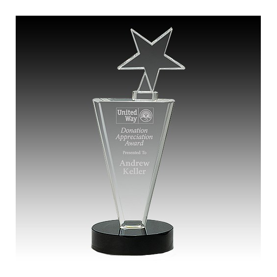 "11"" Clear Crystal Star & Column w/ Black Base"