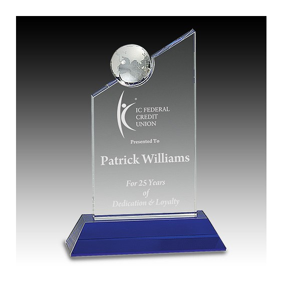 "8-1/4"" Clear Crystal w/ Globe Award"