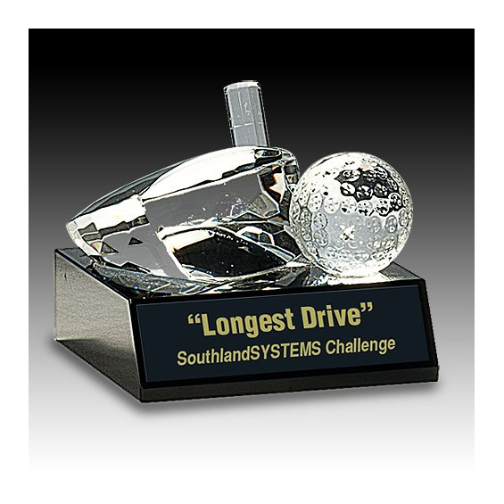 "4"" x 3"" Clear Crystal Golf Ball & Club Award"