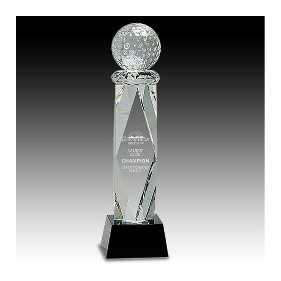 11 in Crystal Golf Ball Award on Facet Column