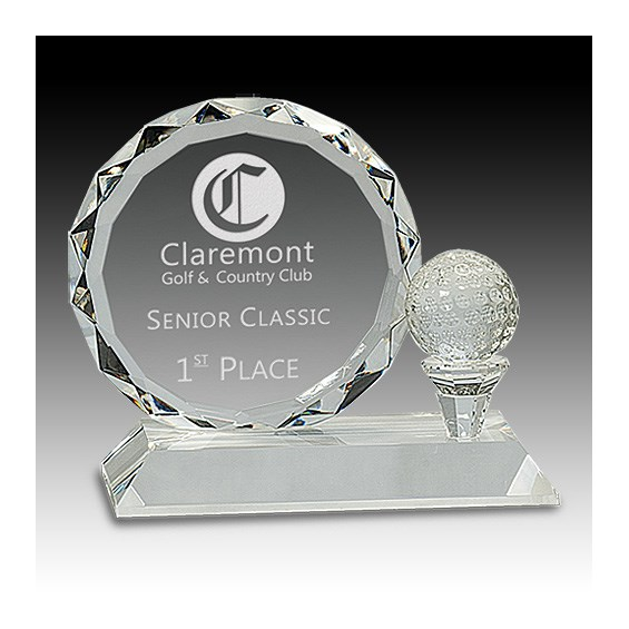 5-1/4 in Round Facet Crystal w/ Golf Ball