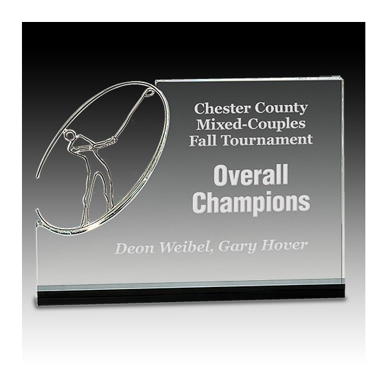 "7"" Clear/Black Crystal Stand-Up w/ Silver Metal Figure"