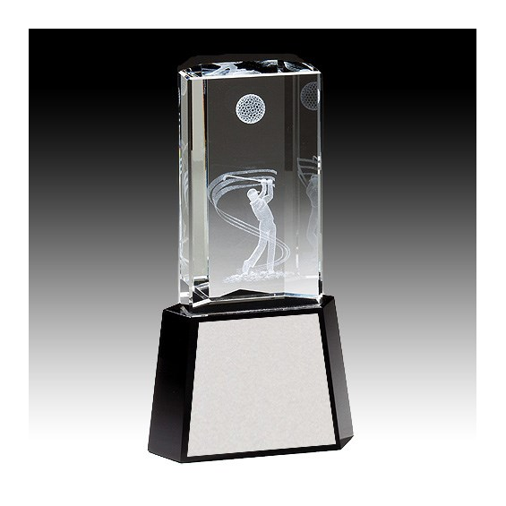 "8-1/2"" 3-D Golf Crystal Award"