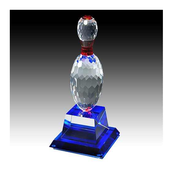"10"" Crystal Bowling Pin Award w/ Blue Base"