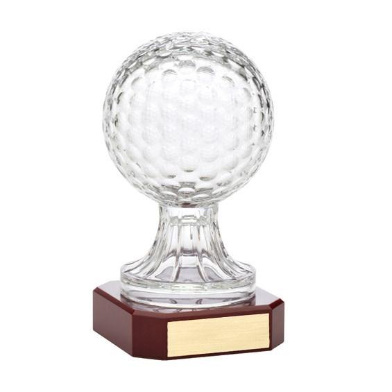 "10.5"" Crystal Golf Ball w/ Rosewood Base Award"