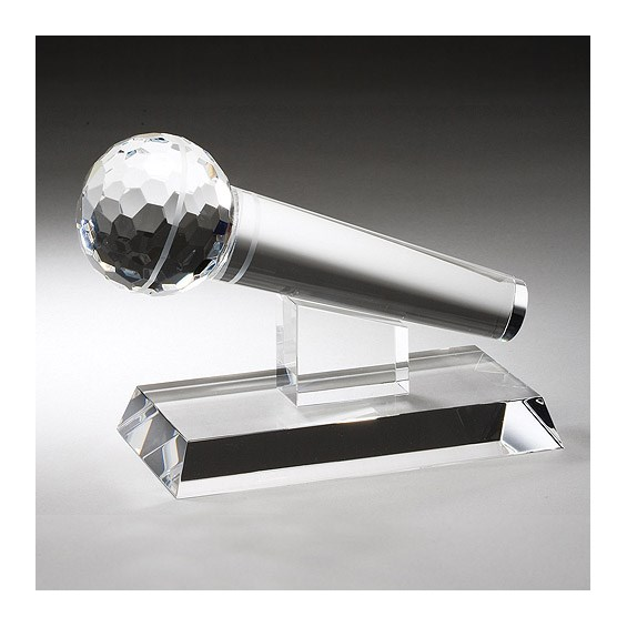 "7"" x 4.5"" Crystal Microphone Award"