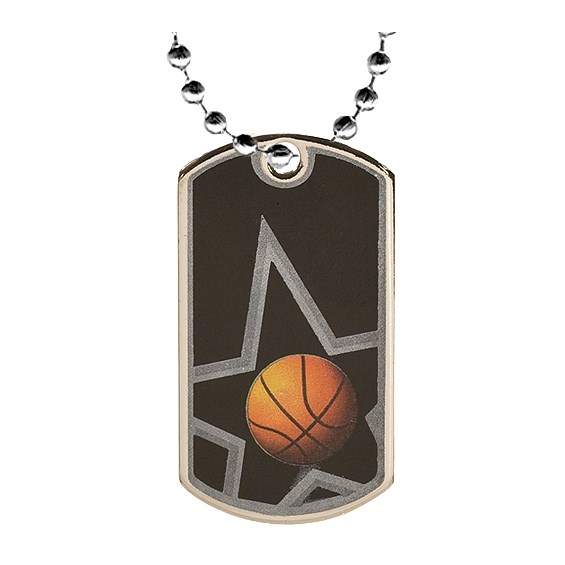 2 in Basketball Dog Tag w/ 24 in Chain