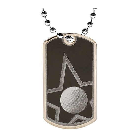 "2"" Golf Dog Tag w/ 24"" Chain"