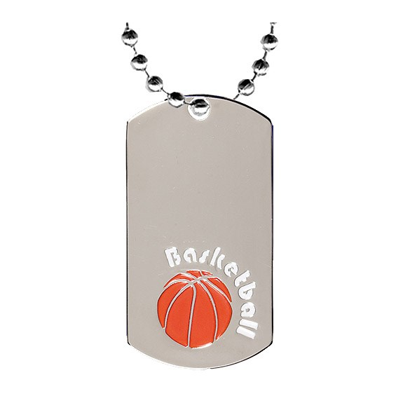 "2"" Chrome Basketball Dog Tag w/ 24"" Chain"
