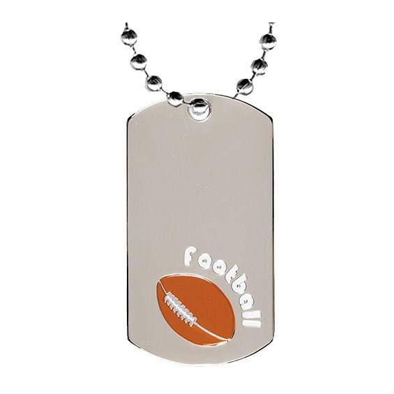 "2"" Chrome Football Dog Tag w/ 24"" Chain"