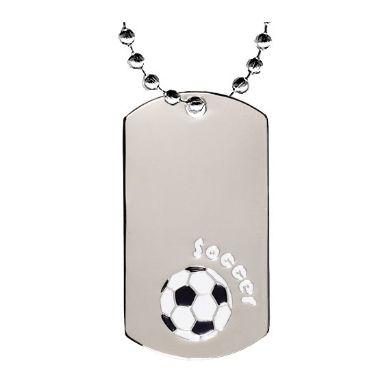 "2"" Chrome Soccer Dog Tag w/ 24"" Chain"
