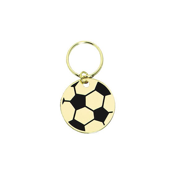 "1.75"" Polished Brass Keychain - Soccer"